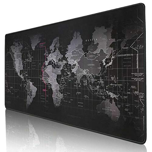 Kriture Gaming Mouse Pad Extended Mouse Map Mat (World Map 31.5x11.8inch,3mm),Nonslip Base, Thick, Comfy, Waterproof and Foldable Mat For Desktop, Computer, Laptop, Keyboard, Consoles, Black
