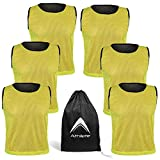 Reversible Mesh Pack of 6 Basketball Jerseys Lacrosse Top Tank Adult Teen Youth Kids Team Sports Scrimmage Vest Uniform (Golden Yellow/Black, Medium)