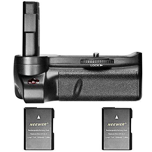 Empuñadura Vertical de batería Neewer, para cámara réflex Nikon D3400 con 2 Pilas Recargables de Ion de Litio Nikon EN-EL14 y EN-EL14A (Negra), 7,4 V, 1050 mAh