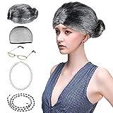 Beelittle Old Lady Costume Grandmother Accesorios Cosplay Set - Peluca Granny Peluca Cap Gafas Gafas Chains Strap Collar de perlas - 5 Piezas (C)