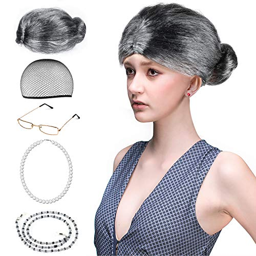 Beelittle Old Lady Costume Grandmother Accesorios Cosplay Set - Peluca Granny Peluca Cap Gafas Gafas Chains Strap Collar de perlas - 5 Piezas (C)