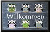 Trendstern Trendprodukteshop Fußmatte Fußabtreter Schmutzmatte Motiv Design Eule OWL (grau)