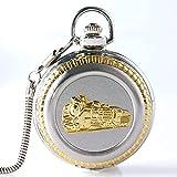 JQCHY Reloj de Bolsillo de Cuarzo de la Serie del Motor de la Locomotora Delantera del Tren de Bronce Retro para Hombres y Mujeres, Relojes con Cadena Colgante, Collar de Regalo, 8