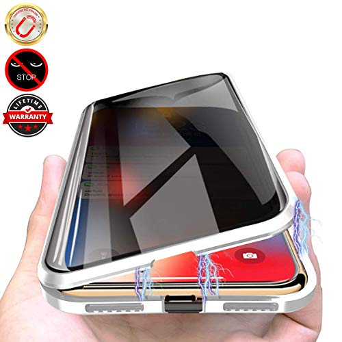 Privacy Magnetic Case for iPhone XR, Anti Peeping Clear Double Sided Tempered Glass [Magnet Absorption Metal Bumper Frame] Thin 360 Full Protective Phone Case for iPhone XR 6.1'' Silver