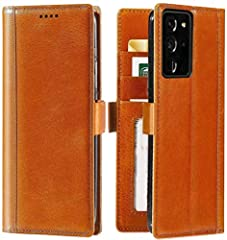 Compatible with Samsung Galaxy Note 20 Ultra 5G Only Made Of Premium Full Grain Leather with Solid Stitches Built-in Magnetic Closure To Keep Your Note 20 Ultra Flip Case Closed 3 Card Slots and Cash Pocket - Ditch Your Wallet Wireless Charging Compa...