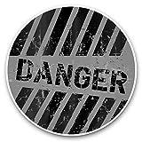 Impresionantes pegatinas de vinilo (juego de 2) 25 cm bw – Señal de peligro grunge gastado divertido calcomanías para portátiles, tabletas, equipaje, reserva de chatarras, neveras, regalo fresco #42064