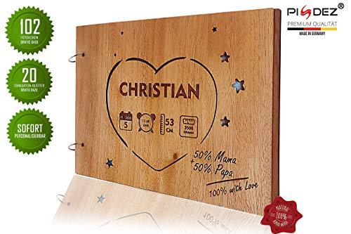 PISDEZ vintage Babyalbum Baby-Fotoalbum zur Geburt Taufe oder zum 1. Geburtstag Okume Holz Album