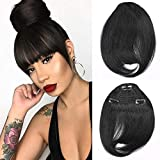 Brazilian Human Hair Bangs Clip On Real Hair for Black Women Natural Black Straight Hair Bangs Extension 6-8inch Muzinuo