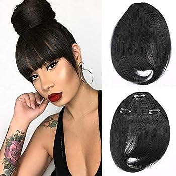 Brazilian Human Hair Bangs Clip On Real Hair for Black Women Natural Black Straight Hair Bangs Extension 6-8inch Muzinuo