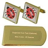 Libro Mariquita insecto-tono Oro gemelos Money Clip grabado Set de regalo