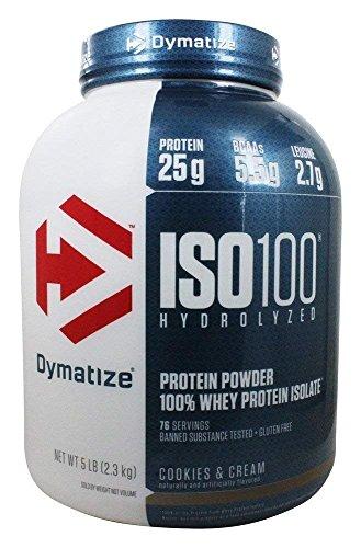 Dymatize ISO100, polvo de proteína hidrolizada, 100% de proteína de suero aislado, 25 g de proteína, 5.5 g de BCAA, sin gluten, de rápida absorción, fácil digestión, Galletas y Crema, 5 libras
