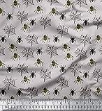 Soimoi Grau Poly Georgette Stoff Web & Spinne Insekt Stoff
