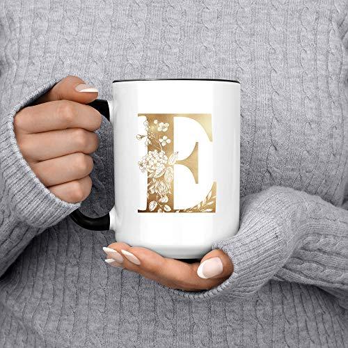 Taza de café personalizada con nombre personalizado con iniciales florales, regalo personalizado...