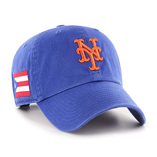 '47 New York Mets Clean Up Hat Cap Royal/Orange/Puerto Rico PR Flag Side Patch