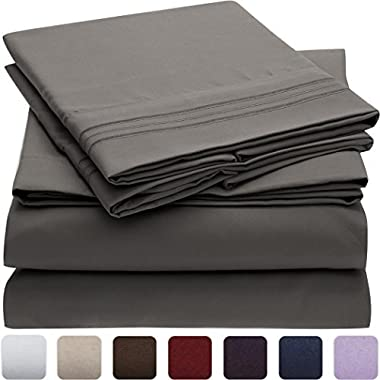 Mellanni Bed Sheet Set - Brushed Microfiber 1800 Bedding - Wrinkle, Fade, Stain Resistant - Hypoallergenic - 4 Piece (Cal King, Gray)