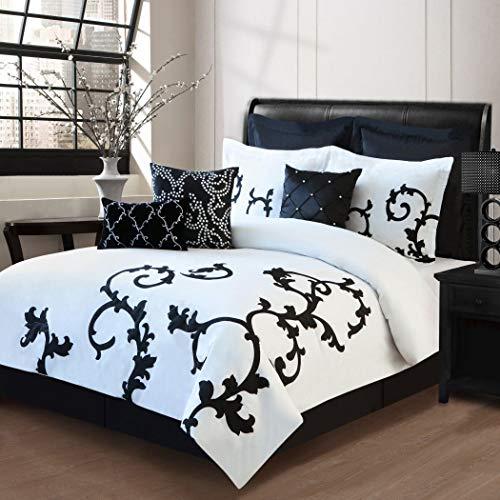 9 Piece King Duchess Black and White Comforter Set
