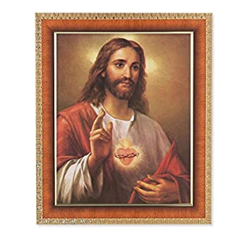 Catholic Gifts Sacred Heart of Jesus Burning Love 10 x 12 Tiger Wood Picture Frame
