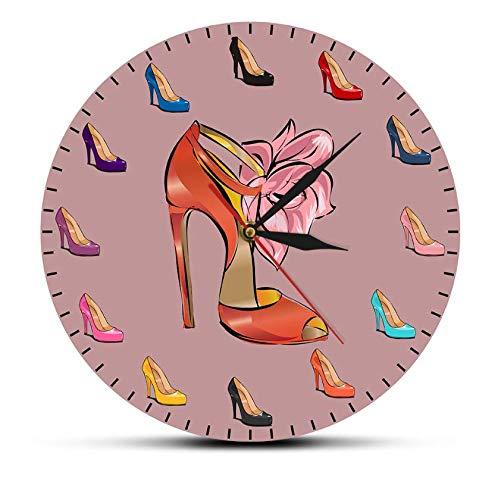 Reloj de acrílico Zapatos de Mujer, Reloj de Pared Femenino, Zapatos de tacón Alto, Tienda de Marea, decoración artística de Moda, Reloj de Pared para habitación de niña, Regalo de Zapatero 30cm