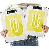 Portapapeles de perfil bajo con clip de 2 unidades, de tamaño carta, letrero astrológico con un diseño contemporáneo de colores pastel para oficina, uso en casa, oficina y empresarial.