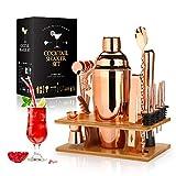 Cocktail Shaker Making Set: 16-teiliges Barkeeper-Kit mit Öko-Bambusständer - Edelstahl-Bar-Werkzeugset im skandinavischen Stil für Heimwerker (Rose Gold, 17*13*29cm)
