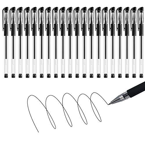 Penna Gel Nera 20 Pcs, Penna Sfera da 0,5 mm, Comodo Portapenne, Pennino Liscio e Scrittura Chiara, Penne Nere, Penne Nere Gel (20 Pcs)