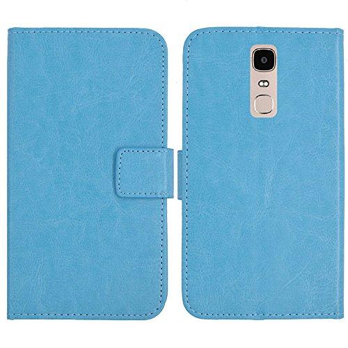 TienJueShi Blau Flip Book-Style Brief Leder Tasche Schutz Hulle Handy Hülle Abdeckung Fall Wallet Cover Etui Skin Fur Doogee Y6 Max 6.5 inch