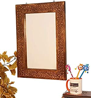 Onlineshoppee Decorative Wood Wall Mirror (43 cm x 2 cm x 58 cm, Black)