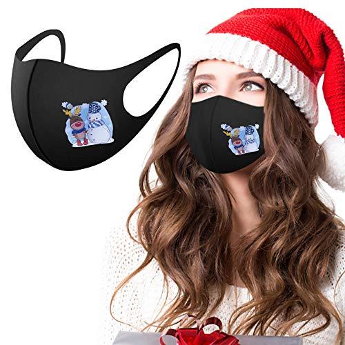 Protector bucal para adultos, 5 unidades, pañuelo multifunción, diseño de Navidad, estampado de dibujos animados, lavable, reutilizable, de algodón b Talla única