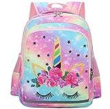 Girls Backpack for School Kids Backpack Preschool Kindergarten Elementary Bookbag (Unicorn-Rainbow)