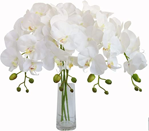 Amazon Com Jasming 4pcs Real Touch Orchid Flowers Artificial Branches Green Stems Arrangement For Wedding Home Garden Decoration White Home Kitchen