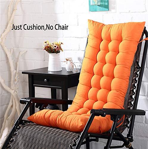 KongEU Hochlehner-Auflage für Gartenstuhl, weich, faltbar, waschbar (ohne Stühle), Orange, 125 x 48 x 8 cm
