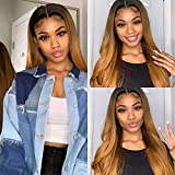 Arenshxc Ombre Wigs Closure Wig 4x4 Straight Brazilian Remy Hair Tow Tone Black Roots 1b30 Ombre Human Hair Wig Natural Hairline Top Swiss Lace Grade 9a Ombre Wigs For Women 16 zoll