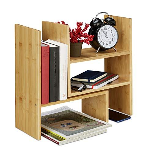 Relaxdays Tischregal Bambus, Verstellbarer Organizer, für Schreibtisch, Küche & Bad, Aufsatzregal, klein, H: 40cm, Natur, 1 Stück