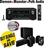 Denon AVR-S910W 7.2 Full 4K Ultra HD Channel Receiver With Bluetooth/HDCP2.2 + Polk Audio 5.1 TL1600 Speaker System + Monster - Platinum XP Clear Jacket MKIII 50' Compact Speaker Cable - Clear/Copper Bundle