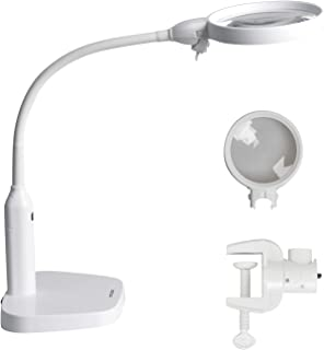 YOCTOSUN LED Magnifying Lamp - 2 in 1 Clip-on & Desktop Magnifying Glass 2X 5X with 6 Bright LED Lights and Flexible Gooseneck - Hands Free Magnifier for Reading,Working and Hobby (USB Lighted)