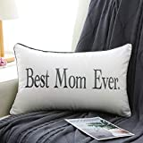 Sanmetex Mothers Gift Best Mom Ever 12 X 20 Inch Decorative Lumbar Pillow Case for Mom Pillow, Best Mothers Day/Birthday Gift. (Color Grey)