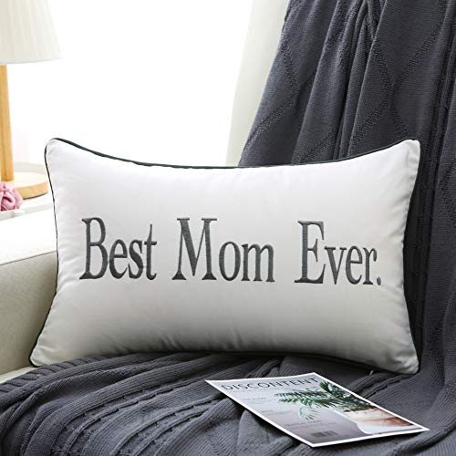 Sanmetex Mothers Gifts Best Mom Ever 12 X 20 Inch Decorative Lumbar Pillow Case for Mom Pillow, Mom Birthday (Color Grey)