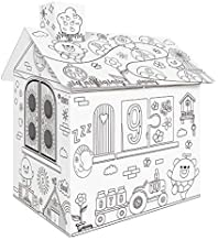 homese DIY Large Cardboard Coloring Creative Crafts Play House Project Assemble and Paint Educational Toys 2.2 Feet Tall For Kids Age 2,3,4,5,6,7,8