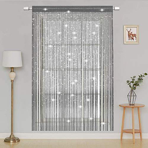 AIZESI Türvorhang 90x200 Insektenschutz Vorhänge Funkelnd Silber Fadengardine Fadenvorhang Verdunklungsvorhänge Schiebevorhänge(Silver)