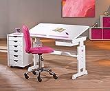 Interlink Kinderschreibtisch BARU mit Stuhl Mali pink und Rollcontainer Simon