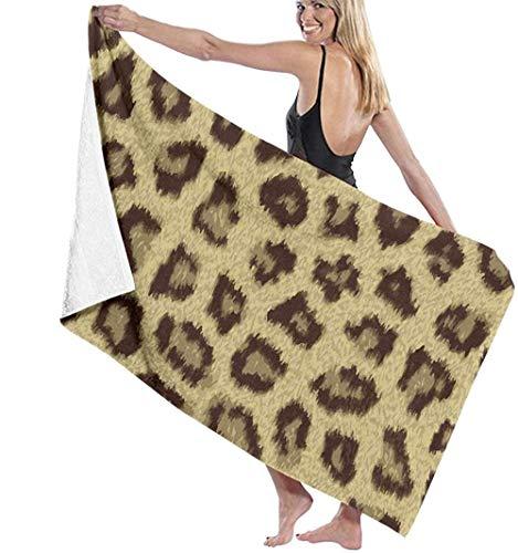 WJSQJ Toalla De Baño Estampada con Estampado De Leopardo Amarillo Microfibra Toalla De Playa De Absorción De Agua Súper Suave Adecuado para Niños Y Adultos Viajes Yoga Natación Y Camping 80X130Cm