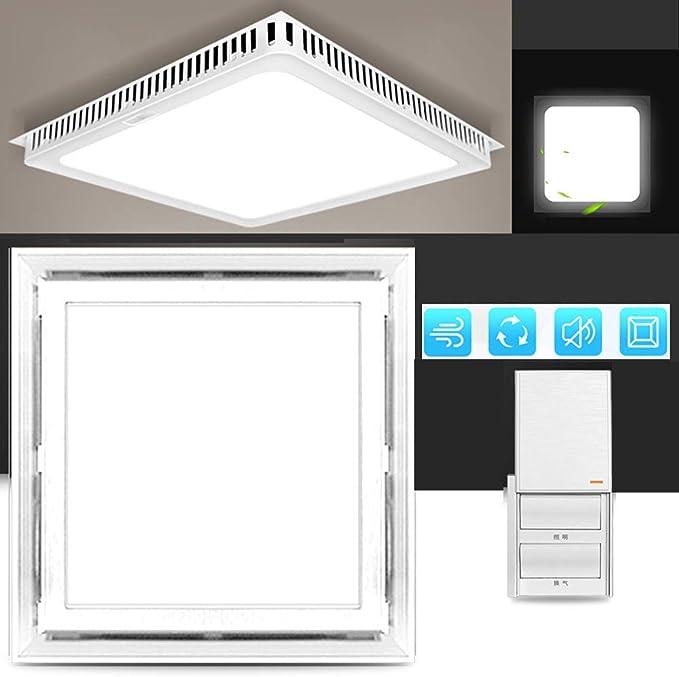 Multifuncional Square Ventilador Extractor silenciosa, 220v extractor de aire baño/Cocina, 40w Ventilador Extractor Instalación en el techo, Ventilación iluminación,White-A-buttons-witch: Amazon.es: Hogar