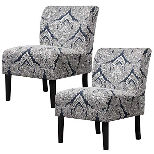 YAHEETECH Pack of 2 Cloth Sofa Armless Accent Chair Fabric Side Chairs with Solid Wood Legs Upholstered Chairs