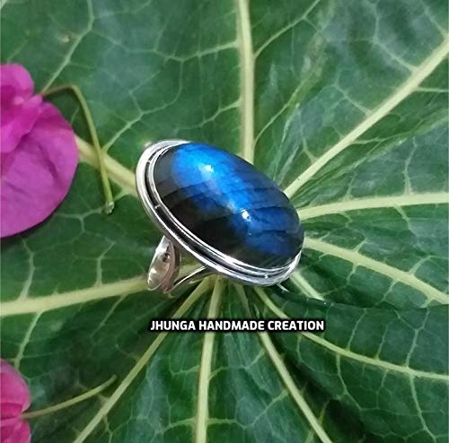 Natural Labradorite Gemstone Boho Ring,Sterling Silver Ring,Blue Flashy Labradorite Cabochon Ring,Handmade Silver Ring,Personalized Ring