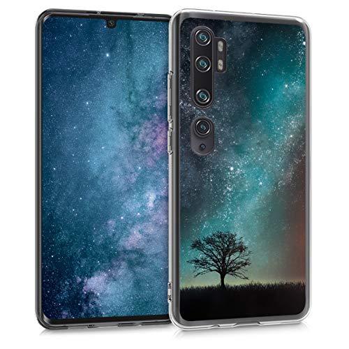 kwmobile Hülle kompatibel mit Xiaomi Mi Note 10 / Note 10 Pro - Handyhülle - Handy Hülle Galaxie Baum Wiese Blau Grau Schwarz