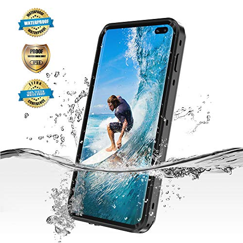 EFFUN Samsung Galaxy S10 Plus Waterproof Case, IP68 Certified Waterproof Underwater Cover Dust/Snow/Shock Proof Case with Phone Stand and Floating Strap for Samsung Galaxy S10 Plus Black