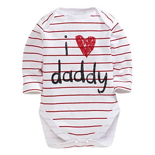 Mameluco de algodón de manga larga con estampado de letra a rayas y texto en inglés 'I Love Mummy I Love Daddy'