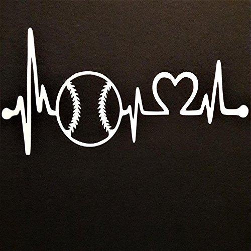 Baseball Softball Heartbeat Vinyl Decal Sticker|WHITE|Cars Trucks Vans SUV Laptops Wall Art|7' X 3.5'|CGS734