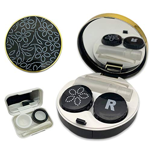 Fashion Eyecare 4-in-1 Lightweight Portable Contact Lens case kit with Mirror,Travel Solution Includes Contact Lens Remover Tool with Bottle and Tweezers(White+Black)