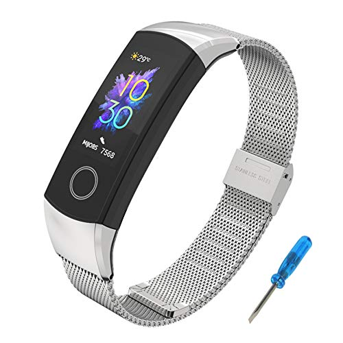 Correa Compatible para Honor Band 4 Band 5,SenMore Pulsera Correa de Acero Inoxidable Agradable Impermeable reemplazo Correa Para Honor Band 5 Band 4 (No Host) (Standard Version, Plata)